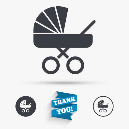 buggy: Baby pram stroller sign icon. Baby buggy. Baby carriage symbol. Flat icons. Buttons with icons. Thank you ribbon. Vector