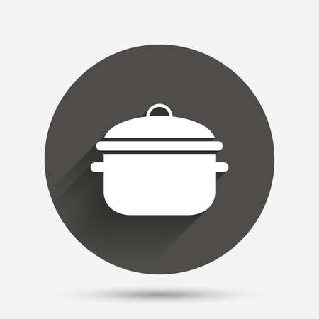 stew pan: Cooking pan sign icon. Boil or stew food symbol. Circle flat button with shadow. Vector Illustration