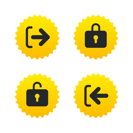 lock out: Login and Logout icons. Sign in or Sign out symbols. Lock icon. Yellow stars labels with flat icons. Vector