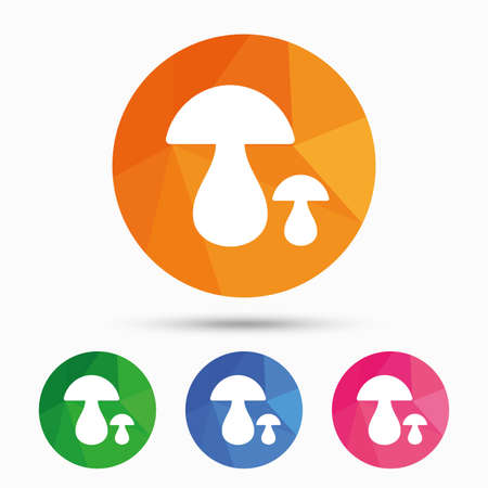 button mushroom: Mushroom sign icon. Boletus mushroom symbol. Triangular low poly button with flat icon. Vector