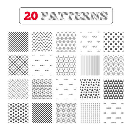 Ornament patterns, diagonal stripes and stars. Programmer coder glasses icon. HTML5 markup language and CSS3 cascading style sheets sign symbols. Geometric textures. Vector