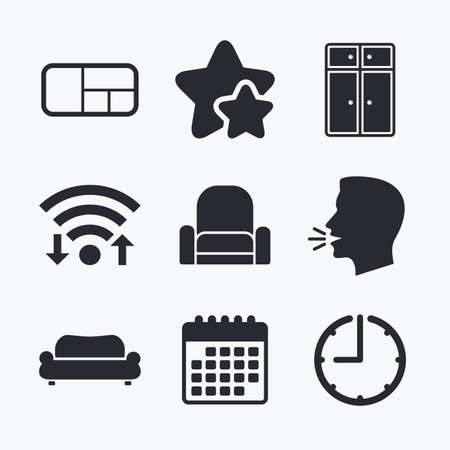 favorite book: Furniture icons. Sofa, cupboard, and book shelf signs. Modern armchair symbol. Wifi internet, favorite stars, calendar and clock. Talking head. Vector