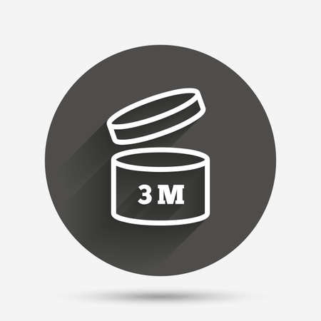 expiration date: After opening use 3 months sign icon. Expiration date. Circle flat button with shadow. Vector