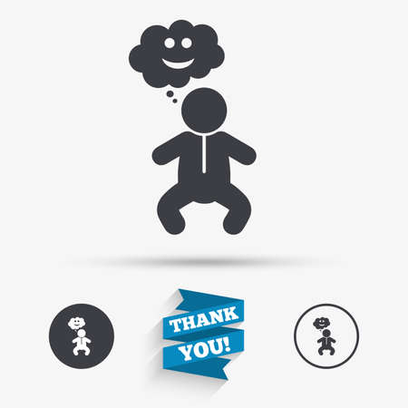 crawlers: Baby infant happy think sign icon. Toddler boy in pajamas or crawlers body symbol. Flat icons. Buttons with icons. Thank you ribbon. Vector