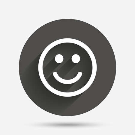 smile icon: Smile icon. Happy face chat symbol. Circle flat button with shadow. Vector