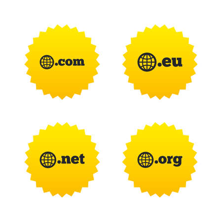 dns: Top-level internet domain icons. Com, Eu, Net and Org symbols with globe. Unique DNS names. Yellow stars labels with flat icons. Vector