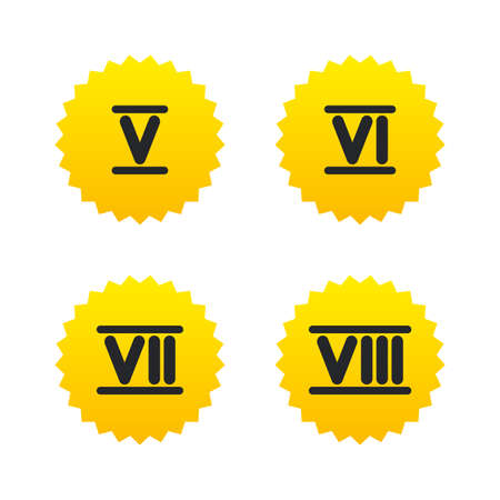 7 8: Roman numeral icons. 5, 6, 7 and 8 digit characters. Ancient Rome numeric system. Yellow stars labels with flat icons. Vector