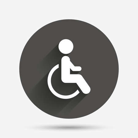 handicapped: Disabled sign icon. Human on wheelchair symbol. Handicapped invalid sign. Circle flat button with shadow. Vector