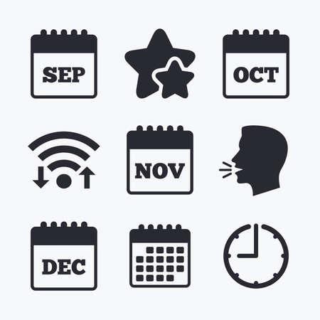 sep: Calendar icons. September, November, October and December month symbols. Date or event reminder sign. Wifi internet, favorite stars, calendar and clock. Talking head. Vector