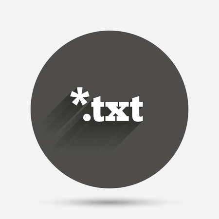 txt: Text file icon. Download txt doc button. Txt file extension symbol. Circle flat button with shadow. Vector