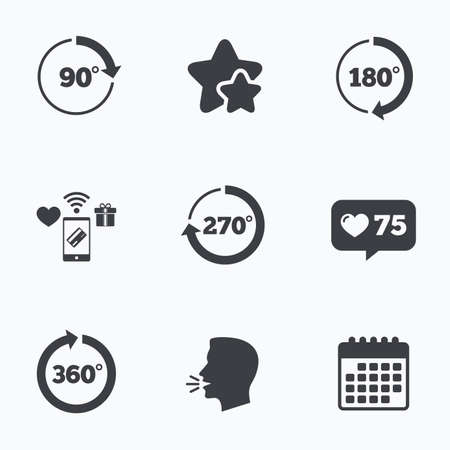 Angle 45-360 degrees circle icons. Geometry math signs symbols. Full complete rotation arrow. Flat talking head, calendar icons. Stars, like counter icons. Vector