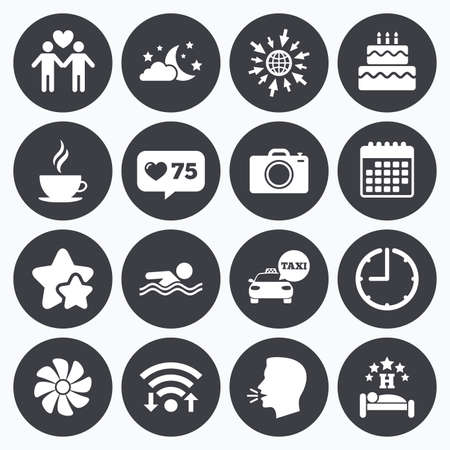 counter service: Calendar, wifi and clock symbols. Like counter, stars symbols. Hotel, apartment service icons. Swimming pool. Ventilation, birthday party and gay-friendly symbols. Talking head, go to web symbols. Vector
