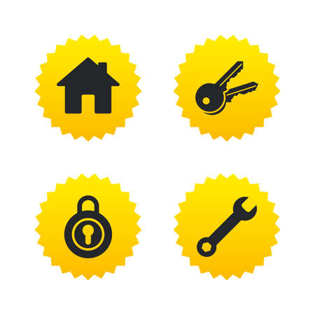 main: Home key icon. Wrench service tool symbol. Locker sign. Main page web navigation. Yellow stars labels with flat icons. Vector