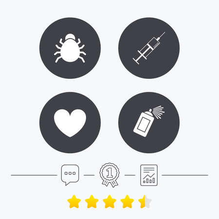 acarus: Bug and vaccine syringe injection icons. Heart and spray can sign symbols. Chat, award medal and report linear icons. Star vote ranking. Vector
