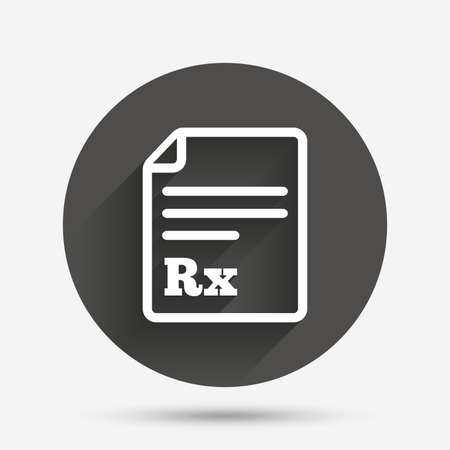 rx: Medical prescription Rx sign icon. Pharmacy or medicine symbol. Circle flat button with shadow. Vector
