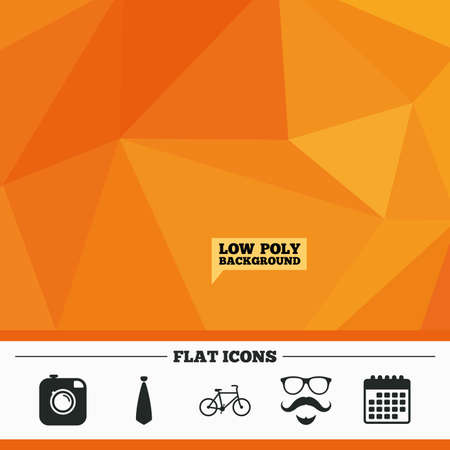 triangular eyes: Triangular low poly orange background. Hipster photo camera. Mustache with beard icon. Glasses and tie symbols. Bicycle sign. Calendar flat icon. Vector