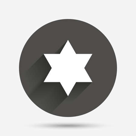 zion: Star of David sign icon. Symbol of Israel. Jewish hexagram symbol. Shield of David. Circle flat button with shadow. Vector Illustration