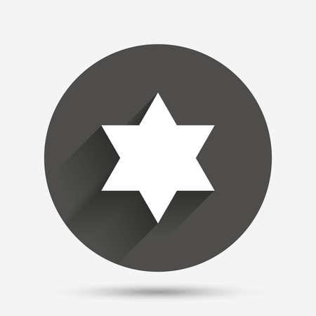 jewish star: Star of David sign icon. Symbol of Israel. Jewish hexagram symbol. Shield of David. Circle flat button with shadow. Vector Illustration