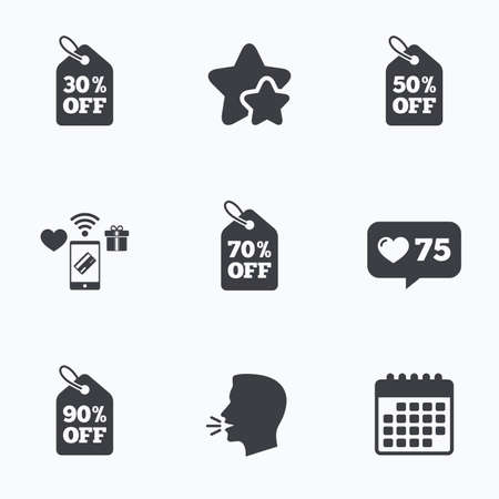 head tag: Sale price tag icons. Discount special offer symbols. 30%, 50%, 70% and 90% percent off signs. Flat talking head, calendar icons. Stars, like counter icons. Vector