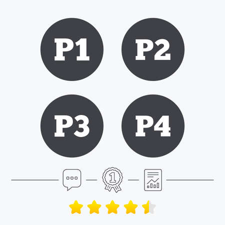 second floor: Car parking icons. First, second, third and four floor signs. P1, P2, P3 and P4 symbols. Chat, award medal and report linear icons. Star vote ranking. Vector