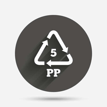 pp: PP 5 icon. Polypropylene thermoplastic polymer sign. Recycling symbol. Circle flat button with shadow. Vector
