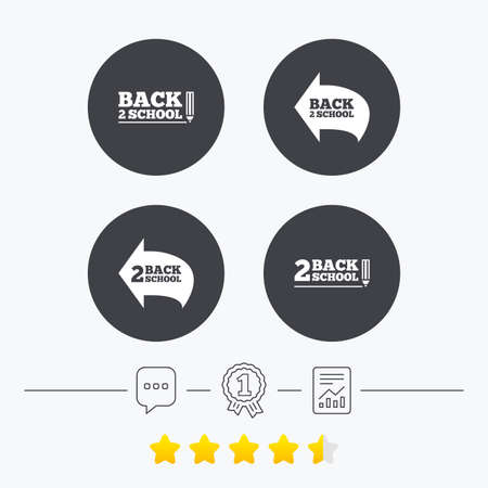 vector studies: Back to school icons. Studies after the holidays signs. Pencil symbol. Chat, award medal and report linear icons. Star vote ranking. Vector Illustration