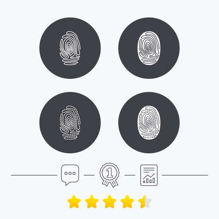 biometric: Fingerprint icons. Identification or authentication symbols. Biometric human dabs signs. Chat, award medal and report linear icons. Star vote ranking. Vector