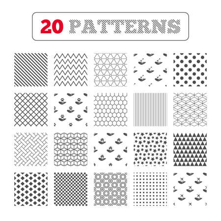 shelter: Ornament patterns, diagonal stripes and stars. Helping hands icons. Shelter for dogs symbol. Home house or real estate and key signs. Flight trip insurance. Geometric textures. Vector