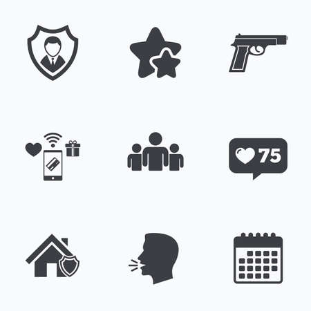 head protection: Security agency icons. Home shield protection symbols. Gun weapon sign. Group of people or Share. Flat talking head, calendar icons. Stars, like counter icons. Vector Illustration