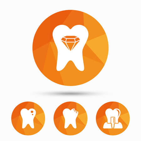 stomatologist: Dental care icons. Caries tooth sign. Tooth endosseous implant symbol. Tooth crystal jewellery. Triangular low poly buttons with shadow. Vector Illustration