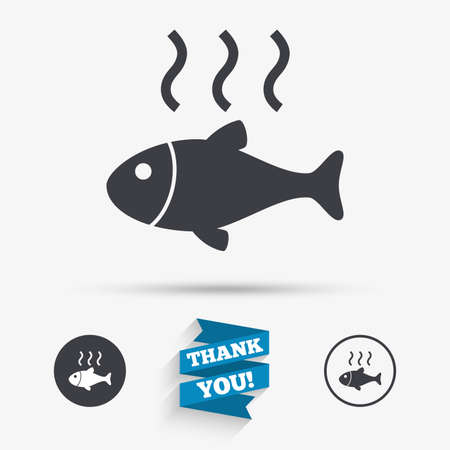 fry: Fish hot sign icon. Cook or fry fish symbol. Flat icons. Buttons with icons. Thank you ribbon. Vector