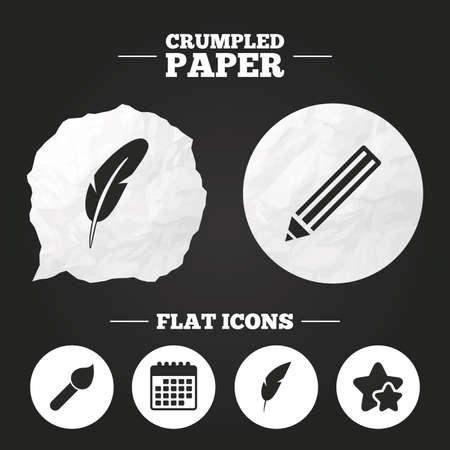 bubble pen: Crumpled paper speech bubble. Feather retro pen icons. Paint brush and pencil symbols. Artist tools signs. Paper button. Vector