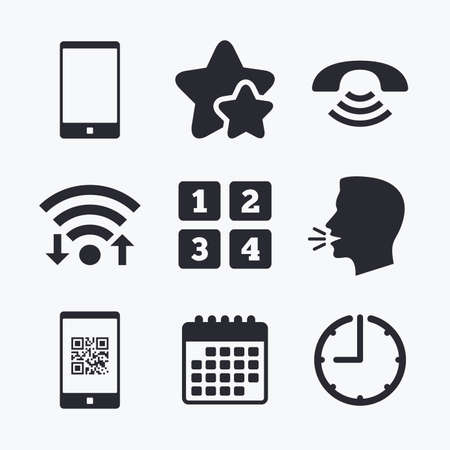 head support: Phone icons. Smartphone with Qr code sign. Call center support symbol. Cellphone keyboard symbol. Wifi internet, favorite stars, calendar and clock. Talking head. Vector