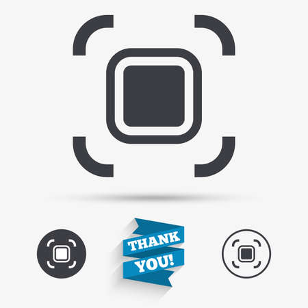 autofocus: Autofocus zone sign icon. Photo camera settings. Flat icons. Buttons with icons. Thank you ribbon. Vector Illustration