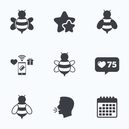 sting: Honey bees icons. Bumblebees symbols. Flying insects with sting signs. Flat talking head, calendar icons. Stars, like counter icons. Vector