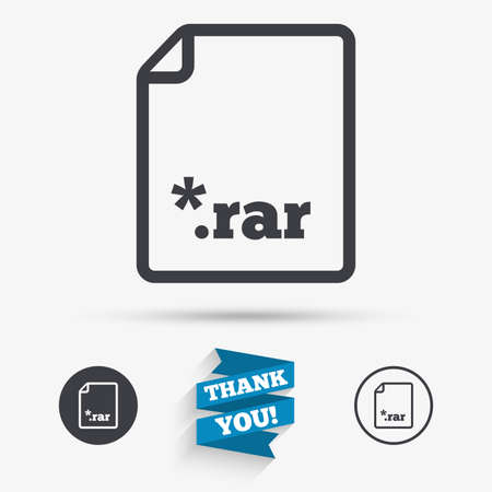 zipped: Archive file icon. Download compressed file button. RAR zipped file extension symbol. Flat icons. Buttons with icons. Thank you ribbon. Vector