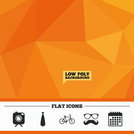 triangular eyes: Triangular low poly orange background. Hipster photo camera with mustache icon. Glasses and tie symbols. Bicycle family vehicle sign. Calendar flat icon. Vector