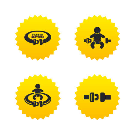 child safety: Fasten seat belt icons. Child safety in accident symbols. Vehicle safety belt signs. Yellow stars labels with flat icons. Vector