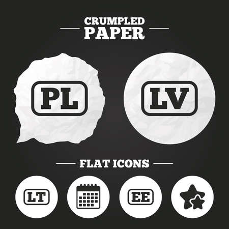 lt: Crumpled paper speech bubble. Language icons. PL, LV, LT and EE translation symbols. Poland, Latvia, Lithuania and Estonia languages. Paper button. Vector