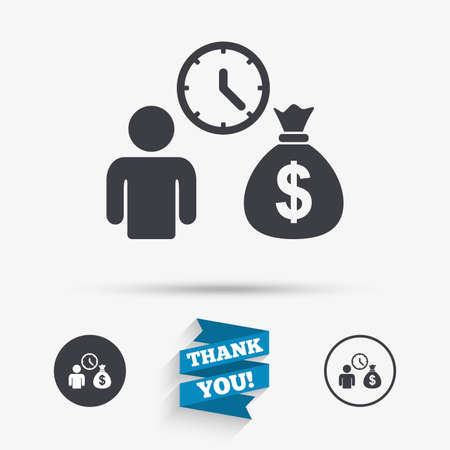 fast money: Bank loans sign icon. Get money fast symbol. Borrow money. Flat icons. Buttons with icons. Thank you ribbon. Vector
