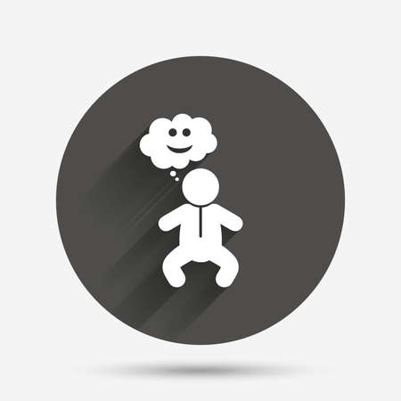 crawlers: Baby infant happy think sign icon. Toddler boy in pajamas or crawlers body symbol. Circle flat button with shadow. Vector