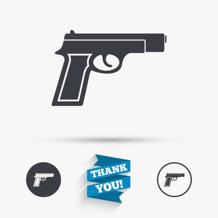 firearms: Gun sign icon. Firearms weapon symbol. Flat icons. Buttons with icons. Thank you ribbon. Vector