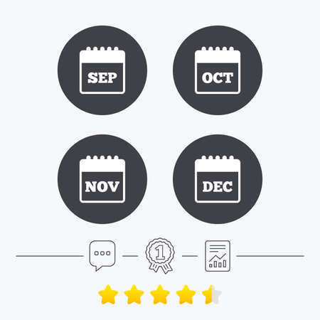 sep: Calendar icons. September, November, October and December month symbols. Date or event reminder sign. Chat, award medal and report linear icons. Star vote ranking. Vector