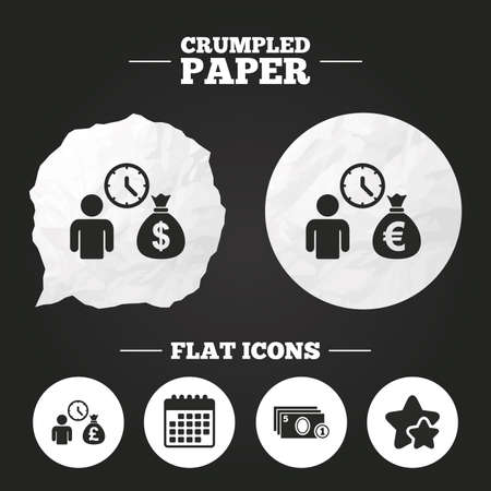 borrow: Crumpled paper speech bubble. Bank loans icons. Cash money bag symbols. Borrow money sign. Get Dollar money fast. Paper button. Vector