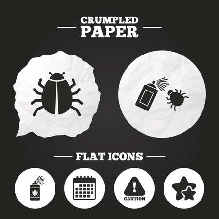 acarus: Crumpled paper speech bubble. Bug disinfection icons. Caution attention symbol. Insect fumigation spray sign. Paper button. Vector