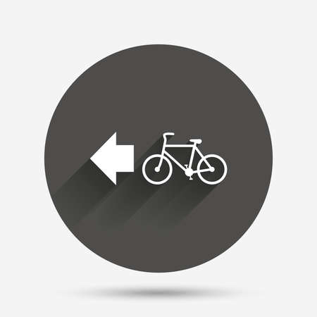 trail sign: Bicycle path trail sign icon. Cycle path. Left arrow symbol. Circle flat button with shadow. Vector
