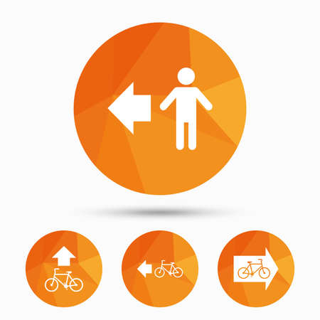 trail sign: Pedestrian road icon. Bicycle path trail sign. Cycle path. Arrow symbol. Triangular low poly buttons with shadow. Vector
