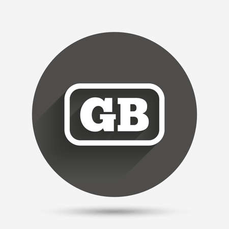 gb: British language sign icon. GB Great Britain translation symbol with frame. Circle flat button with shadow. Vector