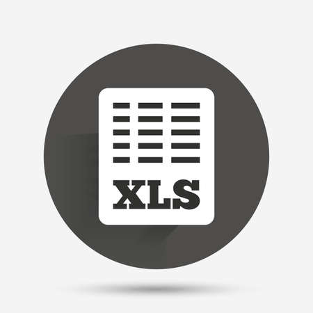 xls: Excel file document icon. Download xls button. XLS file symbol. Circle flat button with shadow. Vector Illustration