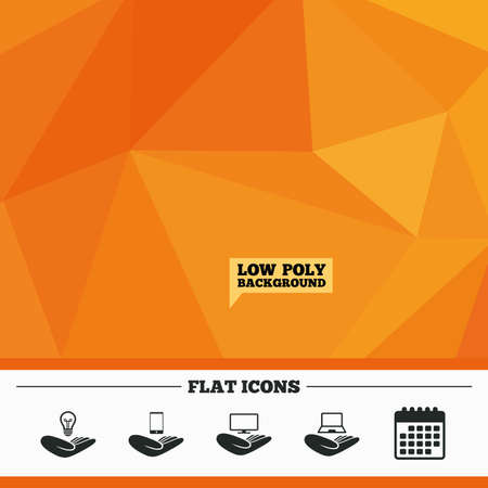 tv monitor: Triangular low poly orange background. Helping hands icons. Intellectual property insurance symbol. Smartphone, TV monitor and pc notebook sign. Device protection. Calendar flat icon. Vector